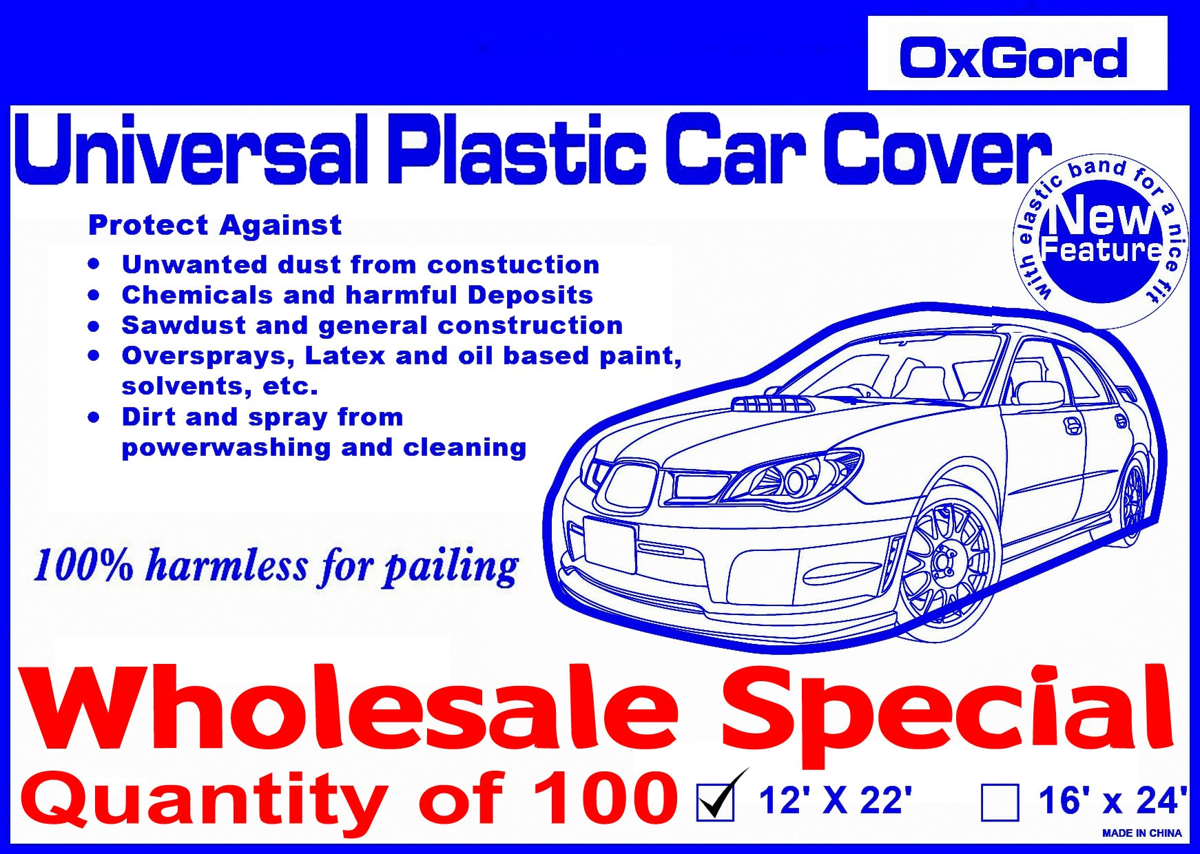 100 Plastic Car Covers - Wholesale