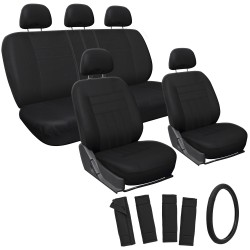 Black Car Seat Covers 17 Piece Set
