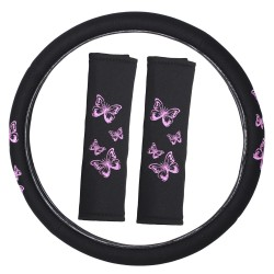 Pink Butterfly Steering Wheel Cover Set